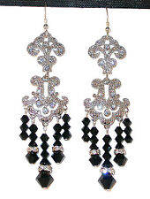 "JET BLACK Very Long 3 3/8"" Chandelier Earrings Silver Swarovski Elements"