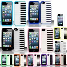 For iPhone 5 5G 5th Piano Silicone Gel Rubber Case 3D Cover Skin+Screen Guard