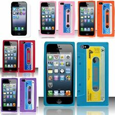 For iPhone 5 5G Cassette Tape Silicone Soft Rubber Case Skin+Screen Protector