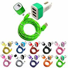 Micro USB Charging data Sync Cord + car & wall charger cable For Cell Phone 2Amp