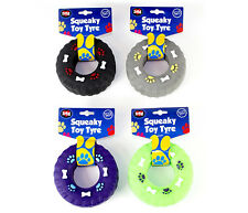 World of Pets Squeaky Vinyl Tyre Dog Toy in 4 Colours