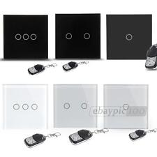 1/2/3Gang 1 Touch Light Wall Switch Black Glass + Remote Control EU