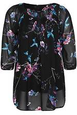 Yoursclothing Plus Size Womens Bird Print Chiffon Blouse With Pintuck Detail
