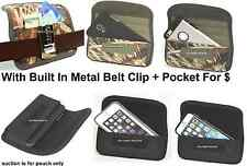 Holster+Metal Belt Clip Horizontal Wallet+Pouch To Fit With Heavy Duty Case On