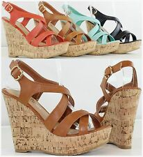 Brand New Women's Fashion High Heel Platform Wedge Strappy Sandals Pumps Shoes
