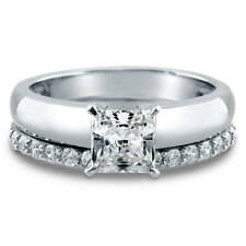 BERRICLE Sterling Silver Princess CZ Solitaire Engagement Ring Set 1.56 Carat