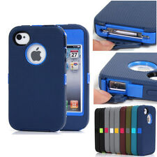 Hard Rugged Heavy Duty Defender Shockproof Rubber Case Cover For iPhone 4 4s