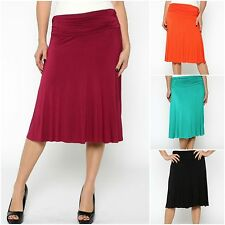 Women's Plus Size Casual Solid Pull-on Below Knee Rayon Jersey Knit A-line Skirt