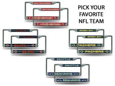 NFL Bling (PICK YOUR TEAM) Chrome License Plate Frame SET of 2 ~FREE US SHIPPING