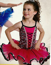 NWT Wolff Fording Dance Costume Stretch lace bodice sequin trim Rasberry pink