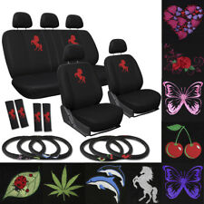 17pc Seat Cover ALL Auto Car Truck Embroidered Mesh + Steering Wheel Belt Pads