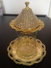 Gold color Turkish Tea Cup Glass Saucer Sugar Lid Bowl Swarovski Coated - M01