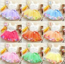Baby Girls Toddlers Kids Princess Tutu Lace Bow Colorful Rose Flower Dress 0-36M