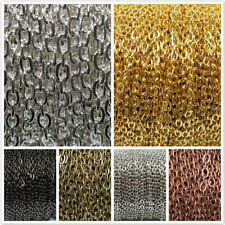 5m/100m Silver Golden Plated Open Link Iron Metal Chain Findings 0.7*4*3mm DIY
