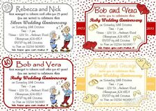 10 Personalised Wedding Anniversary invitations 25/30/40/50/60 ALL YEARS w/env