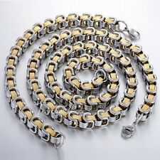 MENS 8mm Byzantine Box Greek Silver Gold Stainless Steel Chain Necklace Bracelet