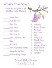 24 Personalized WHAT'S YOUR SONG Baby Shower Game