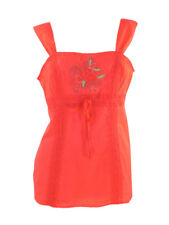 Per Una Coral Fine Cotton Strappy Top with Lace and Embroidery Trim