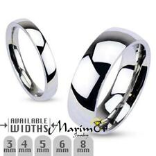 316L Stainless Steel High Polished Wedding Band Ring 3mm-8mm Wide Sizes 4.5-14