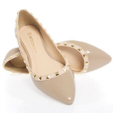Nude Patent Leather Gold Pointy Toe Slip On Rock Stud Ballerina Ballet Flat Shoe