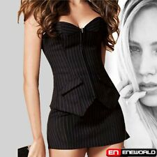 Sexy Office Pinstripe Overbust Black Corset Top Lace up Bustier + Skirt + Thong