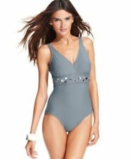 NWT INC Gray One Piece Tank Swimsuit Bathing Suit Silver Accents Sizes 16-20