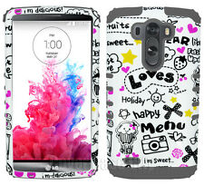 Cupcake Love Black Gray Dual Layer Hybrid Hard Cover Case for LG G3 Accessories