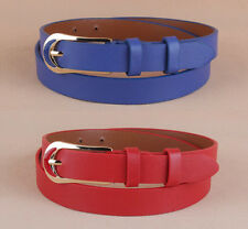 Women Men Unisex Fashion Casual Thin Metal Buckle Faux Leather Waistband Belt