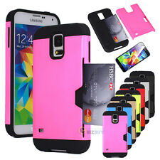 Hybrid Rugged Credit Card Cash ID Wallet Hard Case Cover For Samsung Galaxy S5