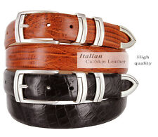 "The Harbor - Italian Calfskin Genuine Leather Designer Dress Belts 1-1/8"" Wide"