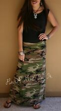 FOLD OVER USA ARMY GREEN CAMOUFLAGE CAMO MILITARY SILKY LONG MAXI SKIRT S M L XL