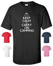 KEEP CALM AND CARRY ON ACAMPADA GRACIOSO CAMISETA HOMBRE MUJER INFANTIL TALLAS