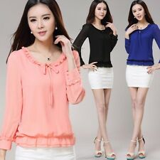 New  Women Chiffon Long Sleeve Crew Neck Shirt Tops Casual Blouse Loose T-shirt