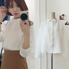 Hot OL Women Slim Stand Collar Tops Casual Long Sleeve Blouse Button Shirt White