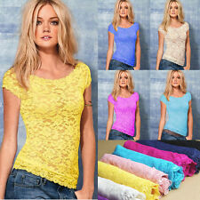 Womens Sexy Ladies Floral Lace T-Shirt Tops Sheer Blouse Short Sleeve Casual New