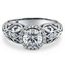 BERRICLE Sterling Silver CZ Halo Milgrain Art Deco Engagement Ring 1.18 Carat