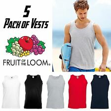 5 Pack of Men Vest Fitted Sleeveless Tank Top Gym Cotton Plain Muscle Sport NEW