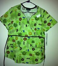 Scrub Top Mock Wrap 2 pocket Colored Flowers & Outlines on Green by Cherokee S