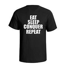 Eat Sleep Conquer Repeat Funny Mens T-Shirt Wrestling Brock Lesnar Gym Top