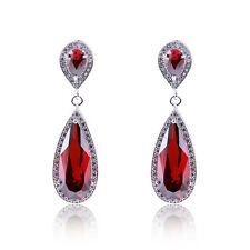 Jewelry New Created Ruby/Blue/White Drop Earrings 10Kt White Gold Filled Wedding