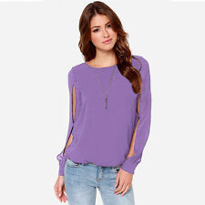 Fashion Women Loose Long-sleeved Chiffon Casual Blouse Shirt Purple Elegant