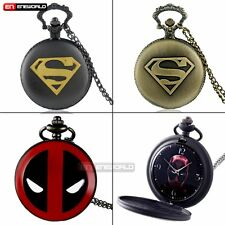 Bronze/Black Superman Logo Dial Quartz Pocket Watch +Necklace Chain Gift UK