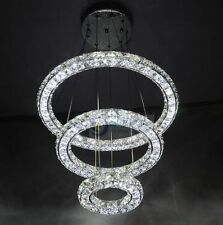 Luxury LED Round 3 sides Crystal Pendant Lamp 3 Tier Ring Ceiling Light Lighting