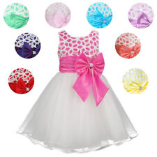 Girls Embroidered Flower Sleeveless Formal Party Dress Wedding Bridesmaid NEW!