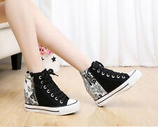 womens mixed high top lace up flower canvas shoes Korean insider heel shoes new