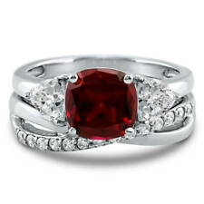 Silver Cushion Simulated Ruby CZ 3-Stone Criss Cross Engagement Ring Set 3.09 CT