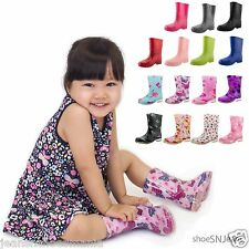 NEW Kids Toddler Children Rubber Cute Multi Color Rain Flat Boots Slip On Shoes