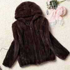 High Quality 100% Real Genuine Knitted Mink Fur Hood Coat Jacket Outwear C0083
