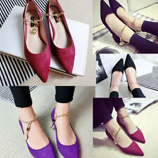 2015 NEW Women's Sexy Pointed Toe Chain Frosting Flats Low Heel Shoes Sandals