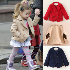 Kids Girls Winter Warm Coats Jacket Woolen Snowsuit Outwear 2-7Y Padded Clothes